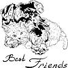 Skizze niedlichen Hund mit Katze Handzeichnung
