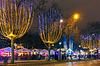Weihnachtsmarkt auf dem Champs Elysees in Paris in der Nacht | Stock Foto