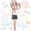 niedliche Mädchen macht Selfie