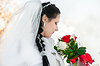 Wedding bridal veil and flowers | Stock Foto
