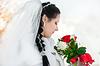 Wedding bridal veil and flowers | Stock Foto
