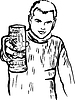 Векторный клипарт: эскиз парень с бокалом пива