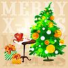 Weihnachtsbaum Kaffee auf dem Tisch und Geschenke in Schachteln