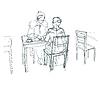 zwei Freunden im Café am Tisch trinken Tee, Kaffee