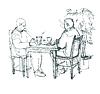 Skizze von zwei Freunden im Café am Tisch trinken