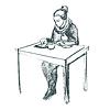 Векторный клипарт: Женщина, используя планшетный компьютер и обедала