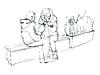 Векторный клипарт: Пара говорить, сидя на скамейке
