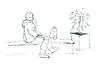 Векторный клипарт: человек разговаривает по телефону и, сидя на скамейке