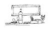 Skizze Stilleben mit Flasche auf dem Tisch