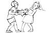 Векторный клипарт: Эскиз мальчика и девочки борются за