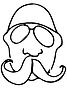 Векторный клипарт: эскиз лысого человека с усами в очках