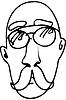 Векторный клипарт: эскиз лысого человека с усами носить glassesve