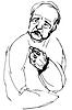 Векторный клипарт: эскиз лысый дед, глядя в сторону