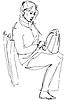 Векторный клипарт: Эскиз Женщина с сумкой, сидя на автобусе