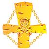 Kreuz und Schädel gold