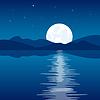 Reflexion der Mond in Wasser