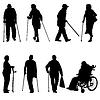 Silhouette von Menschen mit Behinderungen. illu