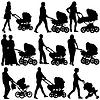 Silhouetten Wanderungen Mütter mit Kinderwagen.