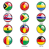 Set Kreissymbol Flaggen der Welt souveräner Staaten.