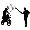 Schwarze Silhouetten Motocross-Fahrer auf dem Motorrad.