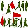 Silhouette militärischen Menschen mit Flaggen Sammlung.
