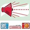 레트로 스피커 및 오디오 고립 된 개체 | Stock Vector Graphics