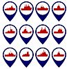 Vector clipart: Badges with Navy ships