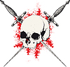 Skull and Dagger schwarz und rot
