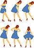 Векторный клипарт: Девушка в платье назад