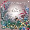 Retro-Weihnachtspostkarte, Gimpel, vogel, schnee
