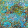Türkis-Blumenmuster, auf gemusterten Hintergrund | Stock Illustration