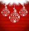 Векторный клипарт: Новогодние шары, сделанные в снежинки на деревянные