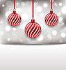 Векторный клипарт: Рождество глянцевая открытка с красными шариками