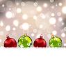 Векторный клипарт: Зима милый открытки с красочными стеклянными шариками