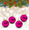 Векторный клипарт: Рождественская открытка со стеклянными шариками