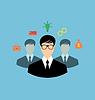 Векторный клипарт: Бизнесмен вокруг иконы социальных сетей массовой информации и