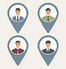 Векторный клипарт: Тег набор спереди портрет этикетки пользователи социальная сеть