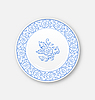 Векторный клипарт: Белая тарелка с цветочным орнаментом панели