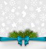 Векторный клипарт: Рождественская открытка с бантом ленты и лапником
