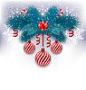 Векторный клипарт: Рождественская открытка с еловыми ветками, стекла