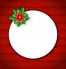 Векторный клипарт: Празднование карты с цветком пуансеттии для Мерри