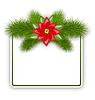 Векторный клипарт: Рождественская открытка с еловыми ветками и цветами