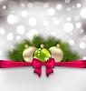 Векторный клипарт: Рождество светящиеся карты с еловыми ветками и стекла