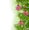 Векторный клипарт: Рождество светящийся фон с еловыми ветками и