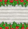 Векторный клипарт: Рождественские украшения Холли Берри ветви на