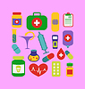 Set modische flache medizinischen Symbole