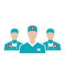 Symbole der medizinischen Mitarbeiter eingestellt in der modernen Wohnung desig