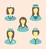 Symbole der medizinischen Krankenschwestern eingestellt in der modernen Wohnung Design