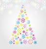 Weihnachtskiefer von bunten verschiedenen Schneeflocken