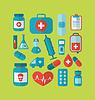 Sammlung modische flache medizinische Symbole